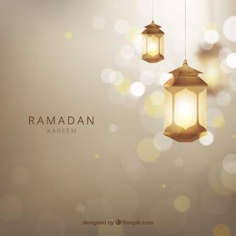 Ramadan tło z realistycznymi lampami