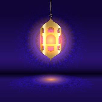 Ramadan tło z wiszącą lampionem na mandala projekcie