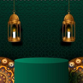 Ramadan z podium w kształcie cylindra z wiszącą złotą luksusową latarnią, ornamentem mandali i dekoracją zielonego meczetu