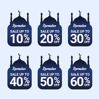 Ramadan zniżki tag kolekcja premium wektor z niebieskim gradientem
