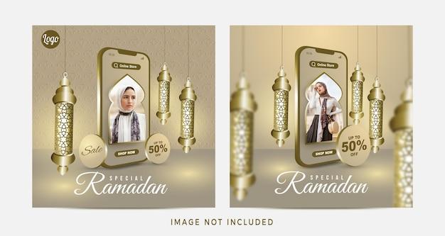 Ramadanowa wyprzedaż zakupów online na mobilnym poście w mediach społecznościowych
