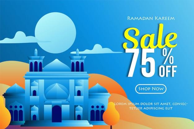 Ramadhan sprzedaży sztandary z meczetową ilustracją
