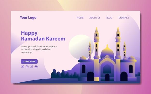 Ramadhan strona docelowa z meczetową ilustracją