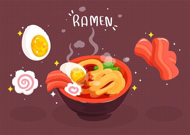 Ramen, makaron, japońskie jedzenie ręcznie rysowane ilustracja kreskówka