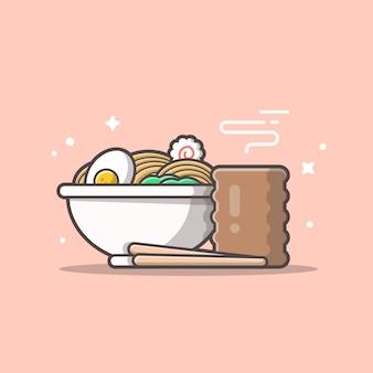 Ramen miska makaronowa z jajkiem, gorąca herbata. japoński makaron na białym tle