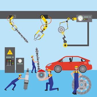 Ramię robota do inżynierii samochodowej z częściami samochodowymi