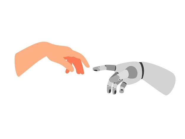 Ramię robota i człowiek. rysunkowy gest współpracy ludzi i robotów