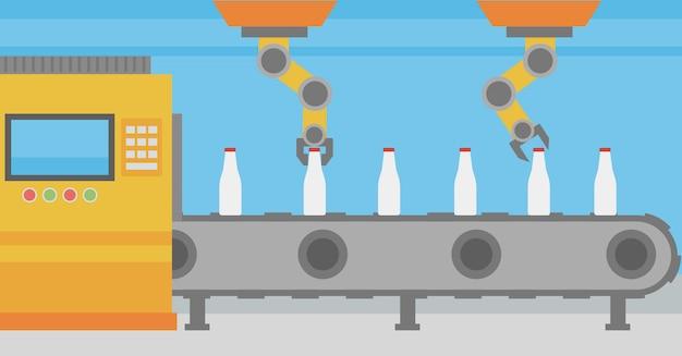 Ramię robota pracujące na przenośniku taśmowym z butelkami.