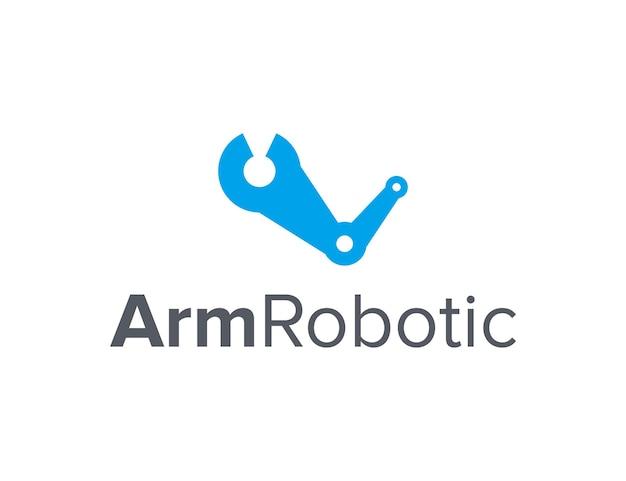 Ramię z robotem prostym, eleganckim, kreatywnym geometrycznym nowoczesnym projektem logo