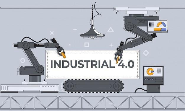 Ramiona robota i przenośnik taśmowy, automatyka fabryczna, przemysł 4.0