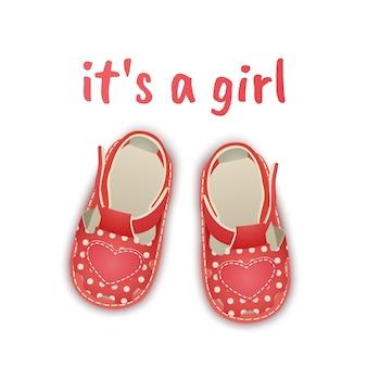 Ramka baby shower to dziewczyna szablon karty ogłoszenia dziecka z miejscem na tekst