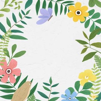 Ramka botaniczna na białym tle
