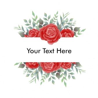 Ramka bukiety czerwonych róż na zaproszenia ślubne