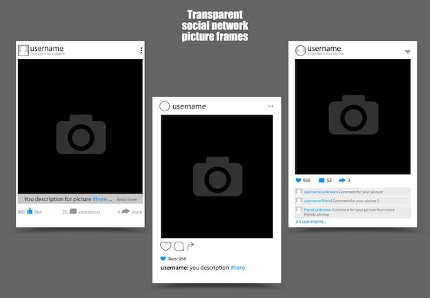 Ramka do zdjęć z sieci społecznościowych na ciemnym tle. ilustracja na białym tle wektor. zainspirowany instagramem i facebookiem.