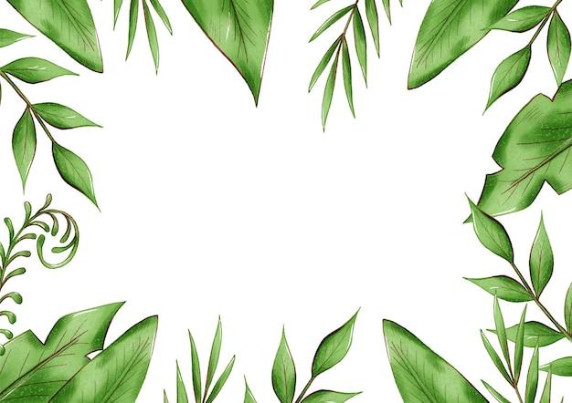 Ramka egzotycznych liści tropikalnych, liście dżungli