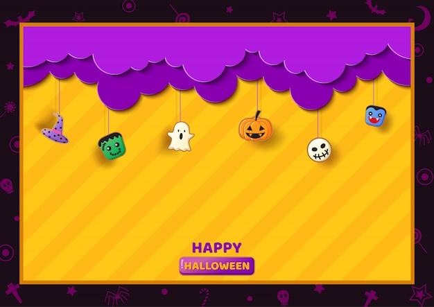 Ramka halloween ozdobiona symbolem