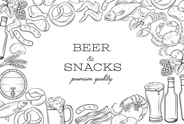 Ramka i strona szablonu żywności w pubie