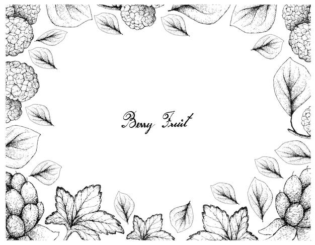 Ramka ilustracja owoce jagodowe ręcznie rysowane szkic