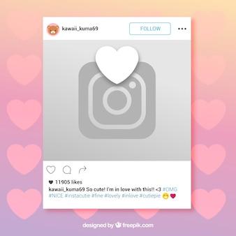 Ramka Instagram z sercem i aparatem fotograficznym