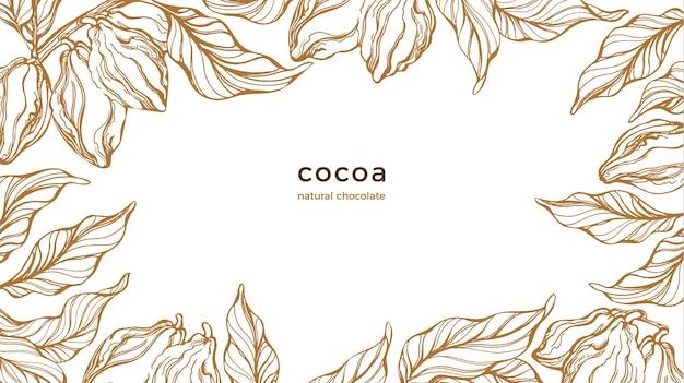 Ramka kakaowa. sztuka ręcznie rysowane drzewo botaniczne, fasola, owoce, liść