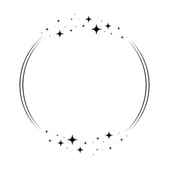 Ramka koło gwiazda blask. wieniec okrągły obramowanie gwiezdnego pyłu na imprezę, projekt wystroju urodzinowego. laurowa ramka z kosmicznym połyskiem. ilustracja na białym tle czarny płaski wektor.