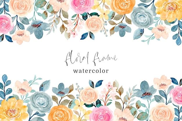 Ramka kolorowy kwiat róży z akwarelą