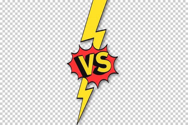 Ramka komiksowa vs. przeciw granicy błyskawicy, pojedynku i konfrontacji. vs bitwa wyzwanie, drużyna sportowa dopasowuje konflikt kreskówka tło