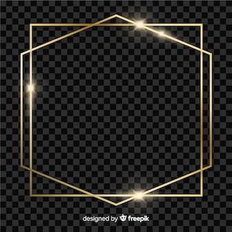 Ramka kwadratowa i sześciokątna w kolorze złotym