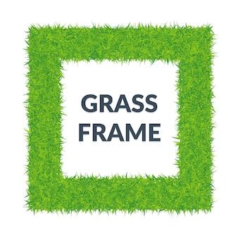 Ramka kwadratowa zielona trawa