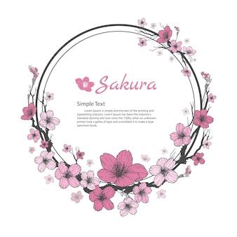 Ramka kwiatowa sakury. rysunek i szkic na białym tle.