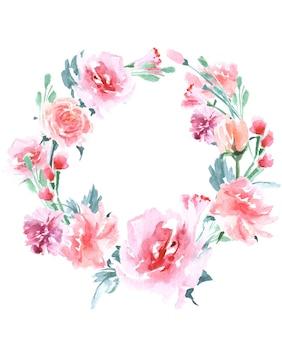 Ramka kwiatowa wianek z akwarelowych róż idealna na zaproszenia ślubne i kartki urodzinowe