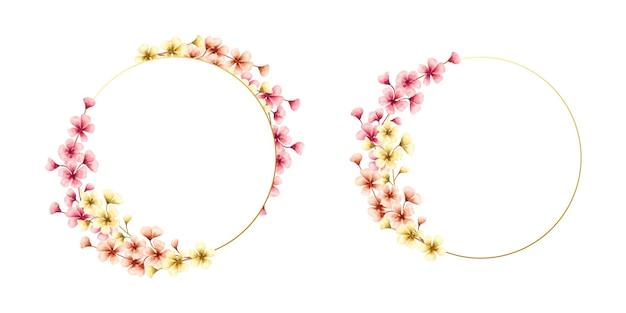 Ramka kwiatowy wiosna kolorowy kwiat wiśni