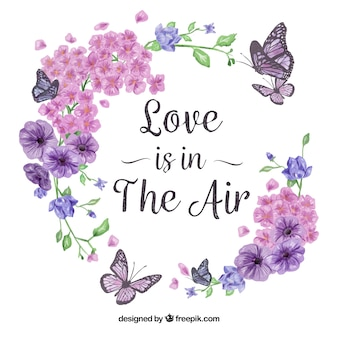 Ramka kwiatu, słodkie kwiaty i motyle