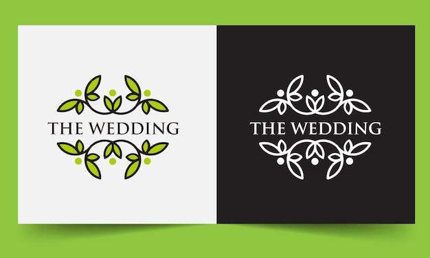 Ramka liścia szablonu ślubu