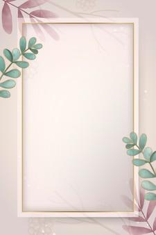 Ramka liściasta złoty prostokąt