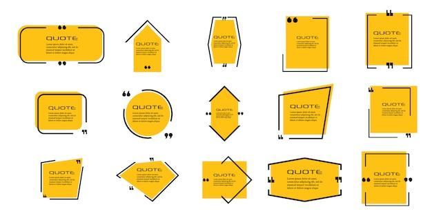 Ramka na cytat, duży zestaw. ikona pola cytatu. sms-y z cytatami. tło. ilustracja