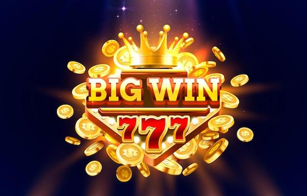 Ramka na etykiety big win 777, złota, duża wygrana.