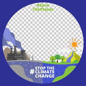 Ramka na facebooku z kreskówek dotyczących zmian klimatu