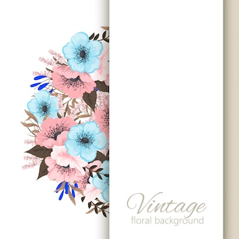 Ramka na kwiaty jasnoniebieskie i różowe kwiaty