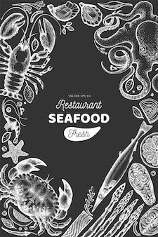 Ramka na owoce morza i ryby