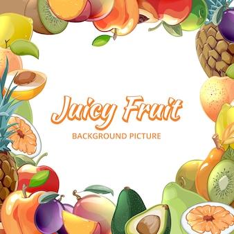 Ramka na tropikalne jedzenie, morele i kiwi, ananas i awokado, ilustracja brzoskwinia i jabłko