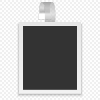 Ramka na zdjęcia. biała plastikowa obwódka na przezroczystym pasku.