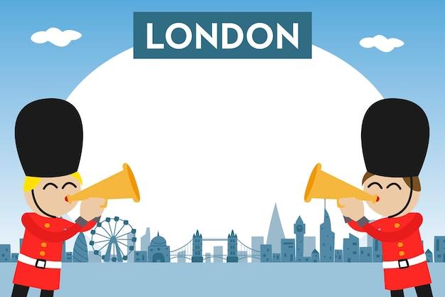 Ramka na zdjęcia dla dzieci z panoramą londynu i zabawnymi strażnikami