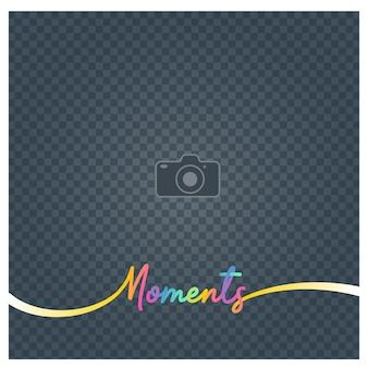 Ramka na zdjęcia i znak chwile. pusta ramka na zdjęcia