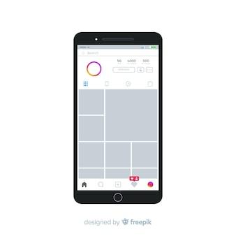 Ramka na zdjęcia realistyczne instagram na szablonie iphone
