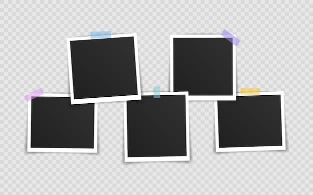 Ramka na zdjęcia . super zestaw ramka na zdjęcie na taśmie samoprzylepnej na przezroczystym tle. ilustracji wektorowych.