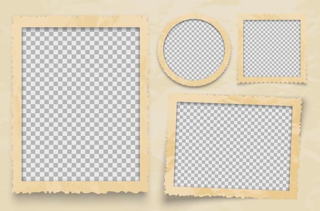 Ramka na zdjęcia vintage. szablon ramki z przezroczystym tłem. pusta ramka do ilustracji fotografii albumu