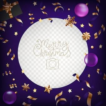 Ramka na zdjęcia z elementami świątecznymi. szablon