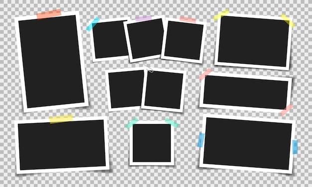 Ramka na zdjęcia z taśmą klejącą w różnych kolorach i spinaczem do papieru.