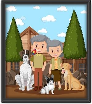 Ramka na zdjęcia ze staruszką bawiącą się z psem
